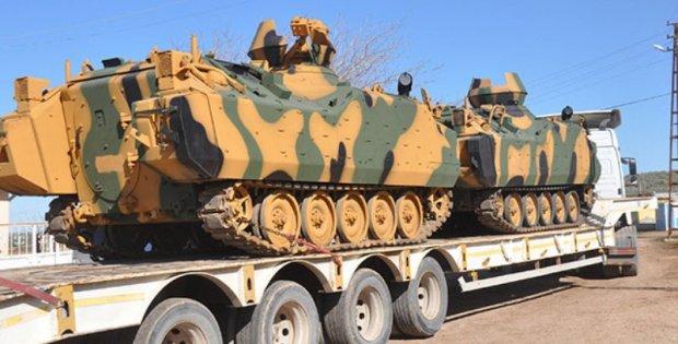 İdlib'e tank ve iş makinesi sevkiyatı ..
